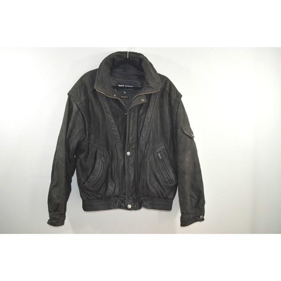 Vtg Wilsons Leather Mens Leather Bomber Jacket Xl